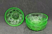 "(set of 3) Hazel Atlas 4"" Diamond Arch Green Vaseline Glass Berry Bowls"