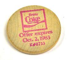 Coca-Cola Coke USA Bois Pièce de monnaie 1983 pièce de monnaie Plaque Token