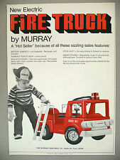 Murray Electric Fire Truck PRINT AD - 1971 ~~ pedal car