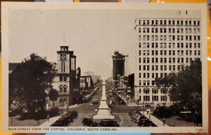1930's Columbia, SC, Main Street, Cars & Civil War Confederate Monument Postcard