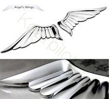 A Pair Metal Luxury Silvery Angel's Wings Car Trunk Lid Sticker Badge Emblems