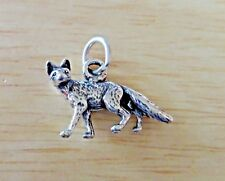 Sterling Silver 15x24mm 3D Grey Gray Artic Red Fox Charm!