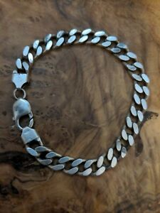 Solid Silver Curb Bracelet Chunky Heavy Not Scrap
