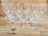 Vintage Crystal Art Deco Set of 13 Wine and Champagne Glasses Etched