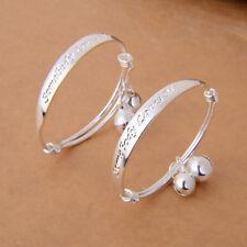 1Pair Silver Plated Children Baby Kid Bell Bangle Bracelet Gift TS