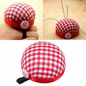 Plaid Grids Needle Sewing Pin Cushion Wrist Strap Tool Button Holder 60mm New