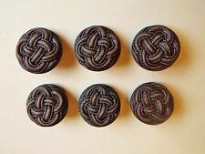 6 LARGE BROWN LEATHER LOOK COAT JACKET KNITWEAR BUTTONS 27mm
