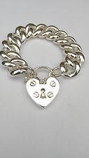 Sterling Silver Curblink .Bracelet Padlock Bracelet