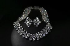 18k White Gold Necklace Earrings Set made w Swarovski Crystal Luxury Bridal Wed