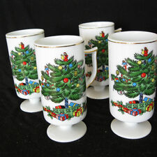 Vtg 4 Christmas Tree Pedestal Mugs Holiday Coffee Cup Porcelain White Nwt Japan