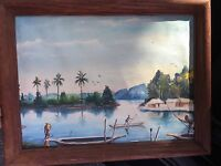 Polynesian Painting Original Oil On Canvas Antique Islands Palm Trees Bora-Bora