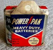 RARE vintage 1960s POWER PAK flashlight batteries IN PACKAGE Maxwell D-Cell NOS