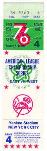 1976 ALCS Game 4 Ticket, Game scorecard, parking stub