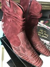 NWOB Moda Spana Suede Snakeprint Low Ankle Boots Sz 9