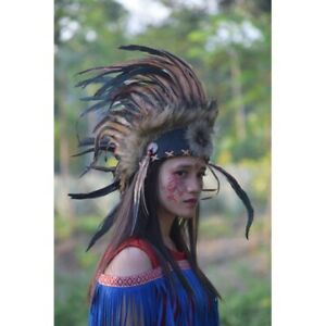 Mohawk Indian Headdress Brown Hat Feather Warbonnet Native American