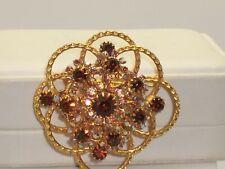 Vintage Amber & AB Rhinestone Circular Brooch
