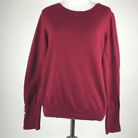 Vince Camuto Women Maroon Knit Long Sleeve Pullover Sweater sz M