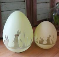 2-er Set Glas Ei grün Hasenmotiv Ostern 2 Glaseier sehr edel Shabby Vintage
