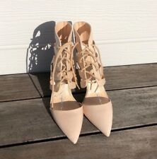 Jessica Simpson Cecerre Women's Leather Nude Beige Lace Up Vamp Edgy Pump 7.5
