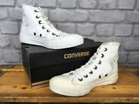 CONVERSE WHITE MONO CHUCK TAYLOR ALL STAR HI TOP TRAINERS MANY SIZES MENS LADIES