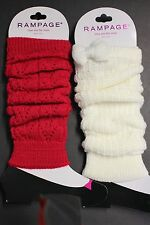 2 PAIRS RAMPAGE WOMEN'S LEG WARMER'S PINK WHITE SOFT STRETCH FASHION SOLID 14 IN