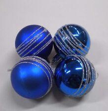 Box 8 Palline Glitterate Blu Argento Lucide Opaco 6 cm Albero Natale Plastica
