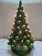 "Ceramic Lighted 16"" Christmas Tree With Detached Light Switch Vintage"