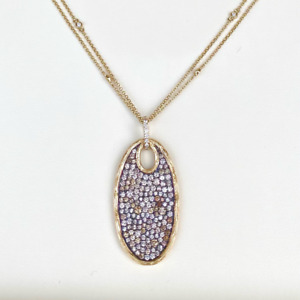 14ct Yellow Gold Cagnac Brown Diamond Pendant with Diamond Chain 1.95cts