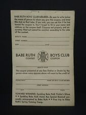 Babe Ruth Original Vintage 1934 Esso Boys Club Contest Coupon (unused)