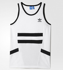 ADIDAS WHITE/BLACK TANK TOP T SHIRT MENS SIZE MEDIUM NWT $35