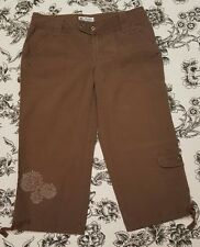 Women's Columbia Brown Floral Cargo Pocket Cotton Stretch Crop Pants 4