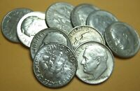 Lot of 10 Roosevelt Dimes Full Dates 1946-1964 90% Silver Coins Sale