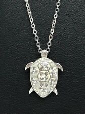 Sterling Silver 925 Matte Enamel CZ Nautical Petite Sea Turtle Pendant Necklace