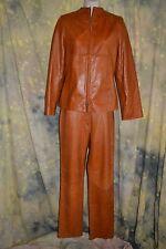 vtg 70s 80s SLEEK camel CARAMEL leather jacket SUIT pants 8 jacket 4 SAMPLE OOAK