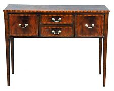 Petite Mahogany Wood Banded Server Sideboard with Shaker Style Legs