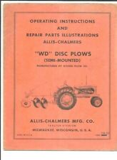 Allis Chalmers Wd Disc Plows Semi Mounted Operating Instructions Manual