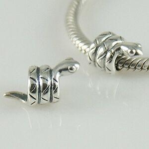 SNAKE - Serpent - Animal - Genuine Solid 925 sterling silver European charm bead
