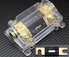 CAR STEREO AUDIO INLINE  ANL FUSE HOLDER 0 2 4 GAUGE WITH 100A - 300A Gold Plate
