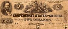 1862 Confederate Note - 2 Dollar Note - Xfine condition