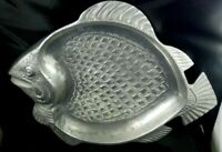 Vintage Silver Pewter Metal Fish Serving Platter Tray Made India Beach Nautical