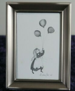 """P Buckley Moss """"Celebrate"""" Girl with Balloons Offset Lithograph"""