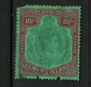 leeward islands stamp - george vi - 10 /- shillings - 1938 perf 14 - well used