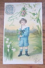 Cartolina d'epoca in rilievo Bambini- 1905 - postcard - tarjeta -