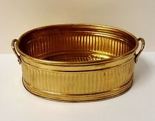 Vintage Shiny Gold Corrugated Tin and Brass Handled Oval Planter, 8.5""