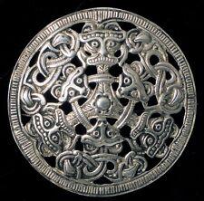 830 Silver Aztec Triple God Brooch Vintage Designer Ida Graugaard Fine Danish