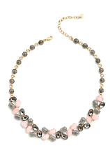 """Nwt Talbots Rose Pink & Gray Crystals Resin Statement Necklace 17"""" Long & 3"""" Ext"""