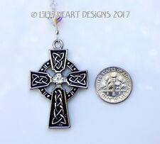 m/w Swarovski Beads Heavy Celtic Cross SunCatcher Car Charm Lilli Heart Designs