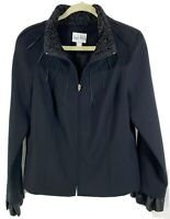 Joseph Ribkoff Womens Size 14 Black Jacket Ruched Collar Full Zip Ruffle Cuffs