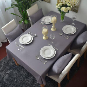Cotton Gray Modern Tabecloth Dining Room Kitchen Tea Table Cloth Cover Rectangle