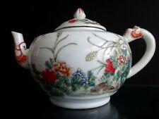 Théière chinoise porcelaine caille famille verte Chinese teapot porcelain mark